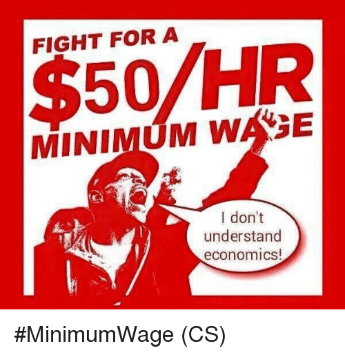 Memes, Fight, and 🤖: FIGHT FOR A  $50/HR  MINIMUM WASE  I don't  understand  economics #MinimumWage (CS)
