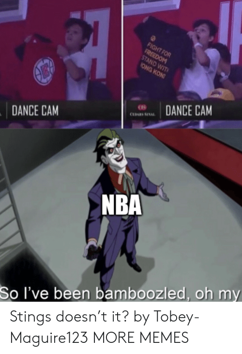 wit: FIGHT FOR  FREEDOM  STAND WIT  ONG KON  DANCE CAM  CLDARS SINAL  DANCE CAM  NBA  So I've been bamboozled, oh my Stings doesn't it? by Tobey-Maguire123 MORE MEMES
