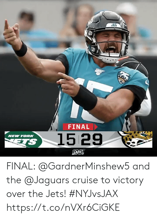 Jets: FINAL  1529  NEW YOR  ETS FINAL: @GardnerMinshew5 and the @Jaguars cruise to victory over the Jets! #NYJvsJAX https://t.co/nVXr6CiGKE