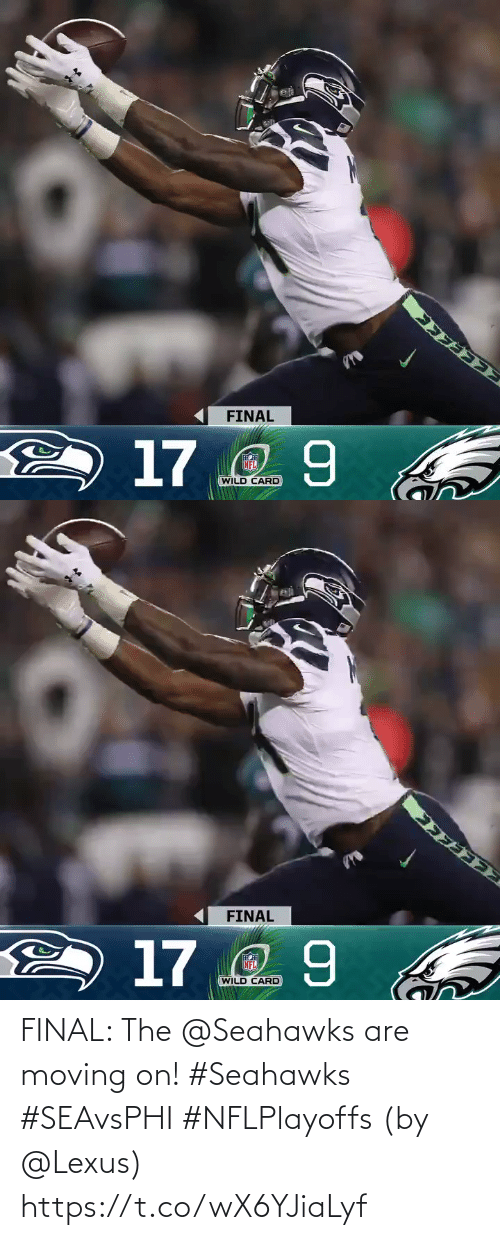 Seahawks: FINAL  2 17 2 9  NFL  WILD CARD   FINAL  2 17 2 9  NFL  WILD CARD FINAL: The @Seahawks are moving on! #Seahawks #SEAvsPHI #NFLPlayoffs  (by @Lexus) https://t.co/wX6YJiaLyf