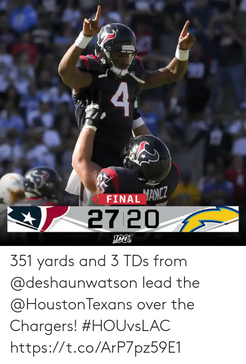 Memes, Chargers, and 🤖: FINAL ANZ  27 20 351 yards and 3 TDs from @deshaunwatson lead the @HoustonTexans over the Chargers! #HOUvsLAC https://t.co/ArP7pz59E1