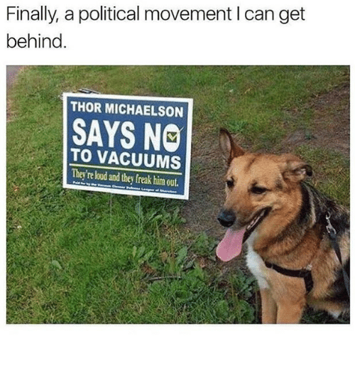 Thor, Dank Memes, and Him: Finally, a political movement I can get  behind.  THOR MICHAELSON  SAYS NO  TO VACUUMS  They're loud and they freak him out