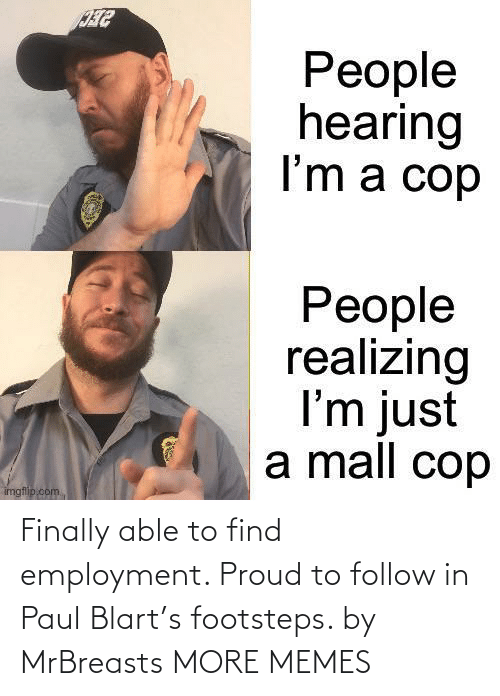 follow: Finally able to find employment. Proud to follow in Paul Blart's footsteps. by MrBreasts MORE MEMES