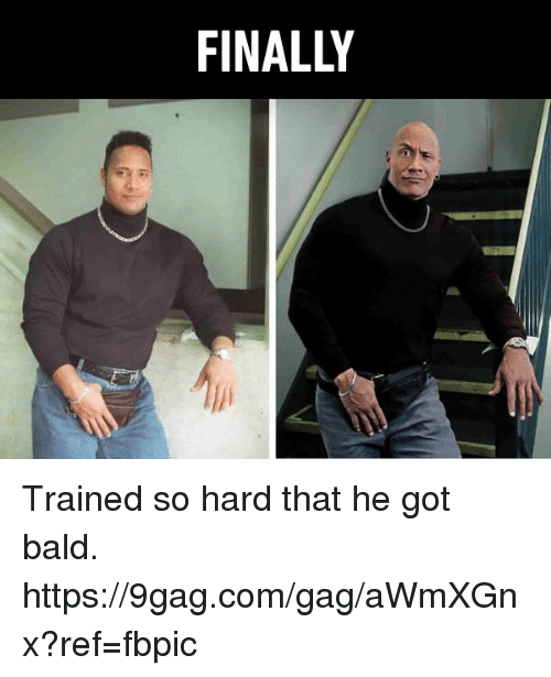 9gag, Dank, and 🤖: FINALLY Trained so hard that he got bald. https://9gag.com/gag/aWmXGnx?ref=fbpic