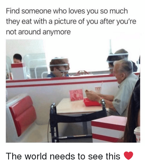 Memes, World, and A Picture: Find someone who loves you so much  they eat with a picture of you after you're  not around anymore The world needs to see this ❤️