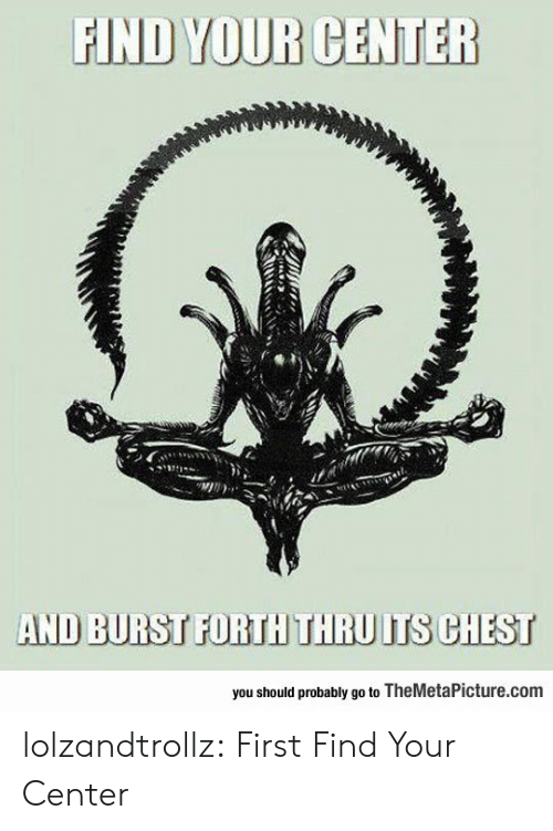 Tumblr, Blog, and Com: FIND YOUR CENTER  AND BURST FORTH THRU ITS CHEST  you should probably go to TheMetaPicture.com lolzandtrollz:  First Find Your Center
