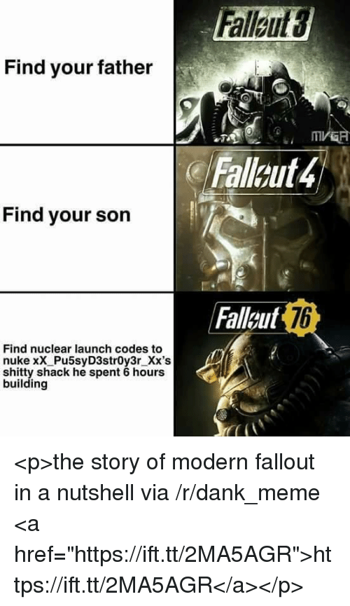 """nuclear-launch-codes: Find your father  Falleut4  Find your son  Faleut  7b  Find nuclear launch codes to  nuke xX Pu5syD3str0y3r_Xx's  shitty shack he spent 6 hours  building <p>the story of modern fallout in a nutshell via /r/dank_meme <a href=""""https://ift.tt/2MA5AGR"""">https://ift.tt/2MA5AGR</a></p>"""