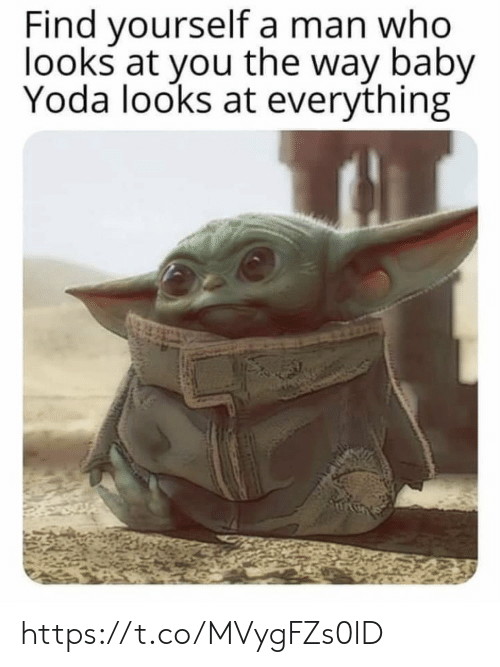 Memes, Yoda, and Baby: Find yourself a man who  looks at you the way baby  Yoda looks at everything https://t.co/MVygFZs0lD