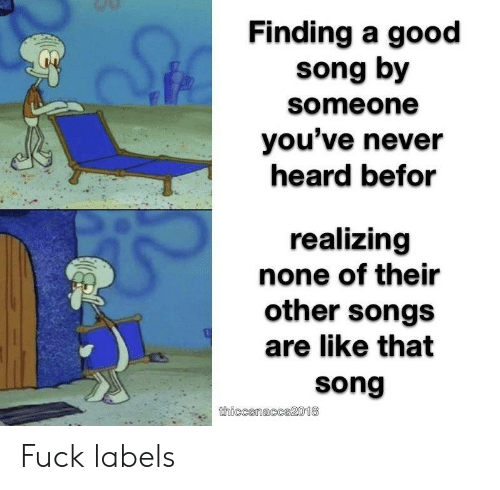 Fuck, Good, and Songs: Finding a good  song by  someone  you've never  heard befor  realizing  none of their  other songs  are like that  song  thiccsnaccs2018 Fuck labels