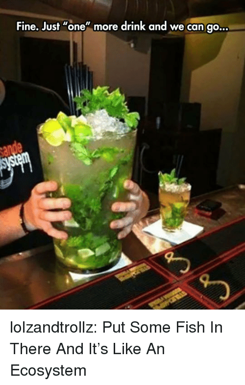 """Tumblr, Blog, and Fish: Fine. Just """"one"""" more drink and we can go.  .. lolzandtrollz:  Put Some Fish In There And It's Like An Ecosystem"""
