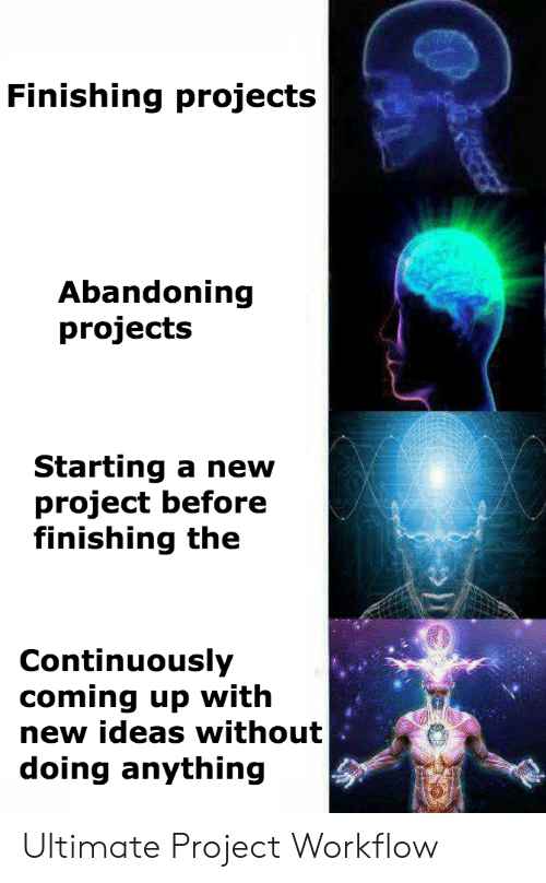 Project, Ideas, and Projects: Finishing projects  Abandoning  projects  Starting a new  project before  finishing the  Continuously  coming up with  new ideas without  doing anything Ultimate Project Workflow