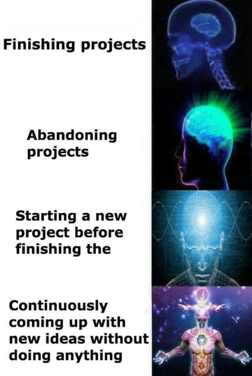 Project, Ideas, and Projects: Finishing projects  Abandoning  projects  Starting a new  project before  finishing the  Continuously  coming up with  new ideas without  doing anything  REEER