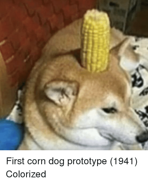 Prototype, Dog, and Corn: First corn dog prototype (1941) Colorized