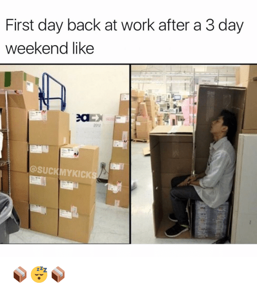 Memes, 🤖, and Weekender: First day back at work after a 3 day  weekend like  SUCKMYKICK 📦😴📦