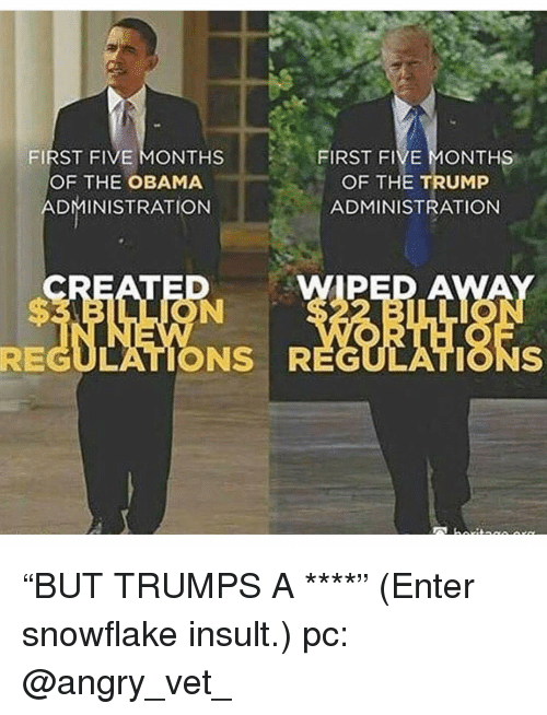 """Memes, Obama, and Trump: FIRST FIVE MONTHS  OF THE TRUMP  ADMINISTRATION  FIRST FIVE MONTHS  OF THE OBAMA  DMINISTRATION  WIPED A  REGULATIONS R """"BUT TRUMPS A ****"""" (Enter snowflake insult.) pc: @angry_vet_"""