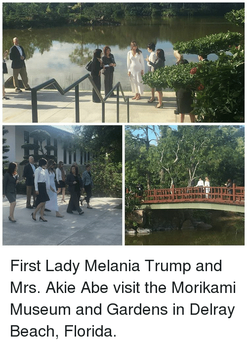 First Ladies: First Lady Melania Trump and Mrs. Akie Abe visit the Morikami Museum and Gardens in Delray Beach, Florida.