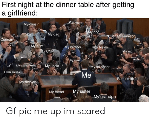 """cnn.com, Dad, and Fbi: First night at the dinner table after getting  a girlfriend:  Kanye  My cousin  My dog  """"My dad  Jonah Jameson  Connan  Мy aunt  My brother  Fox News  CNN  Мy ex  My mom  My,student loans  My uncle  My fbi agent  Elon musk  Mе  Sam smith  Мy bionicle  My sister  My friend  My grandpa Gf pic me up im scared"""