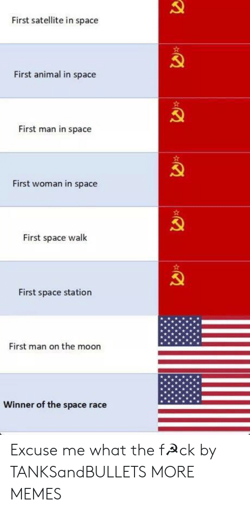 Dank, Memes, and Target: First satellite in space  First animal in space  First man in space  First woman in space  First space walk  First space station  First man on the moon  Winner of the space race Excuse me what the f☭ck by TANKSandBULLETS MORE MEMES