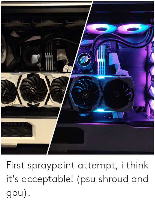 i think: First spraypaint attempt, i think it's acceptable! (psu shroud and gpu).