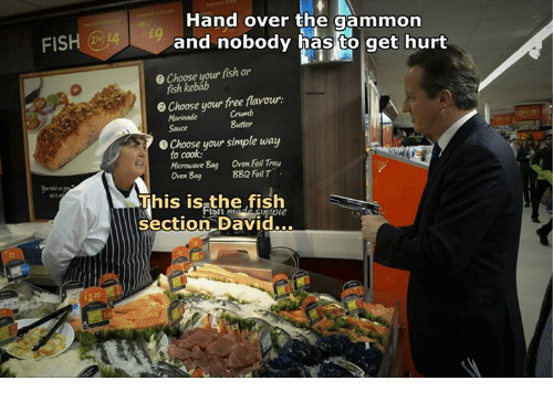 Fish, Free, and Dank Memes: FISH  Hand over the gammon  and nobody has to get hurt  0 Choose your fish or  kebab  Choose your free flavour:  e Marinade  Butter  Sauce  e choose your simple way  to cook:  Oven Foil Tray  Bag Microwave  8EQ Foil T  Oven Bag  This is the fish  Section David...