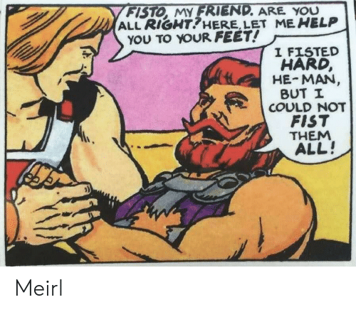 He-Man, Help, and MeIRL: FISTO, MY FRIEND. ARE YOU  ALL RIGHT?HERE, LET ME HELP  YOU TO YOUR FEET!  I FISTED  HARD,  HE-MAN,  BUT I  COULD NOT  FIST  THEM  ALL! Meirl