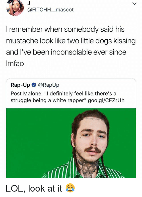 """Definitely, Dogs, and Lol: @FITCHH mascot  I remember when somebody said his  mustache look like two little dogs kissin!g  and I've been inconsolable ever since  Imfao  Rap-Up @RapUp  Post Malone:""""I definitely feel like there's a  struggle being a white rapper"""" goo.gl/CFZrUh LOL, look at it 😂"""