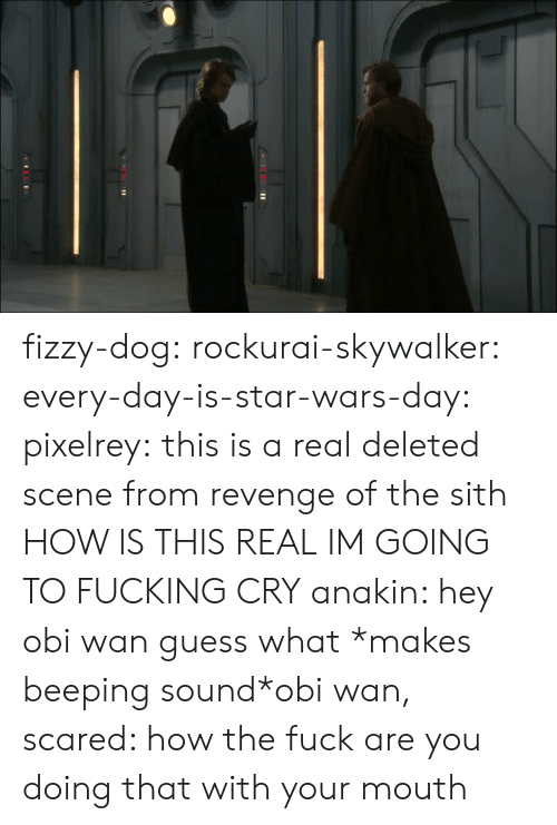 Fucking, Revenge, and Sith: fizzy-dog: rockurai-skywalker:  every-day-is-star-wars-day:  pixelrey: this is a real deleted scene from revenge of the sith HOW IS THIS REAL  IM GOING TO FUCKING CRY  anakin: hey obi wan guess what *makes beeping sound*obi wan, scared: how the fuck are you doing that with your mouth