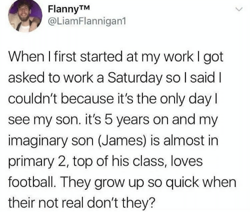 Dank, Football, and Work: FlannyTM  @LiamFlannigan1  When I first started at my work I got  asked to work a Saturday so l said I  couldn't because it's the only day  see my son. it's 5 years on and my  imaginary son (James) is almost in  primary 2, top of his class, loves  football. They grow up so quick when  their not real don't they?