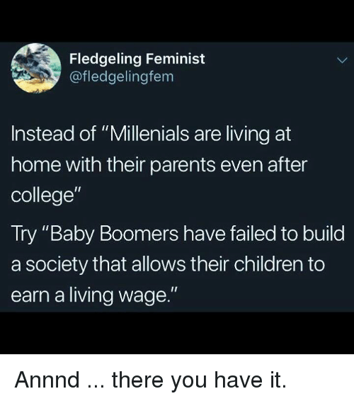 "Children, College, and Memes: Fledgeling Feminist  @fledgelingfem  Instead of ""Millenials are living at  home with their parents even after  college""  Try ""Baby Boomers have failed to build  a society that allows their children to  earn a living wage."" Annnd ... there you have it."