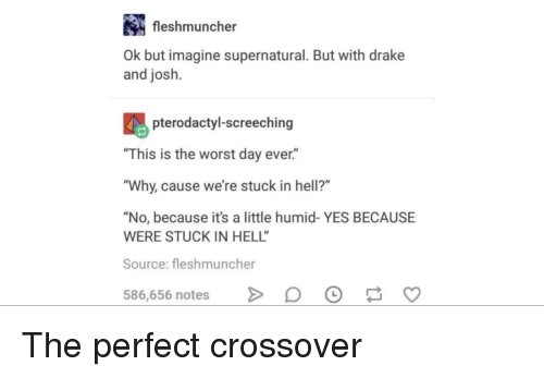 "Drake, The Worst, and Supernatural: fleshmuncher  Ok but imagine supernatural. But with drake  and josh.  pterodactyl-screeching  ""This is the worst day ever.""  Why, cause we're stuck in hell?""  ""No, because it's a little humid- YES BECAUSE  WERE STUCK IN HELL  Source: fleshmuncher  586,656 notes >DO S The perfect crossover"