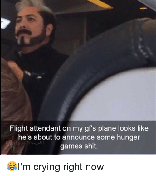 Crying, The Hunger Games, and Memes: Flight attendant on my gfs plane looks like  he's about to announce some hunger  games shit. 😂I'm crying right now