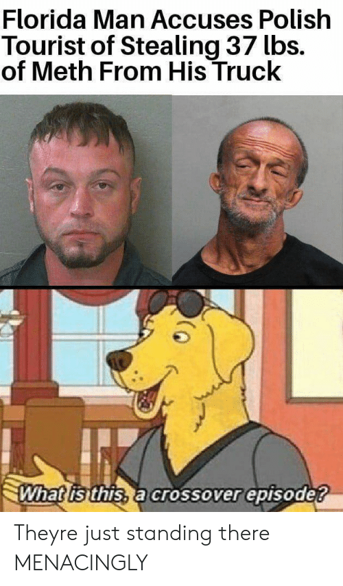 polish: Florida Man Accuses Polish  Tourist of Stealing 37 lbs.  of Meth From His Truck  What is this, a crossover episode? Theyre just standing there MENACINGLY