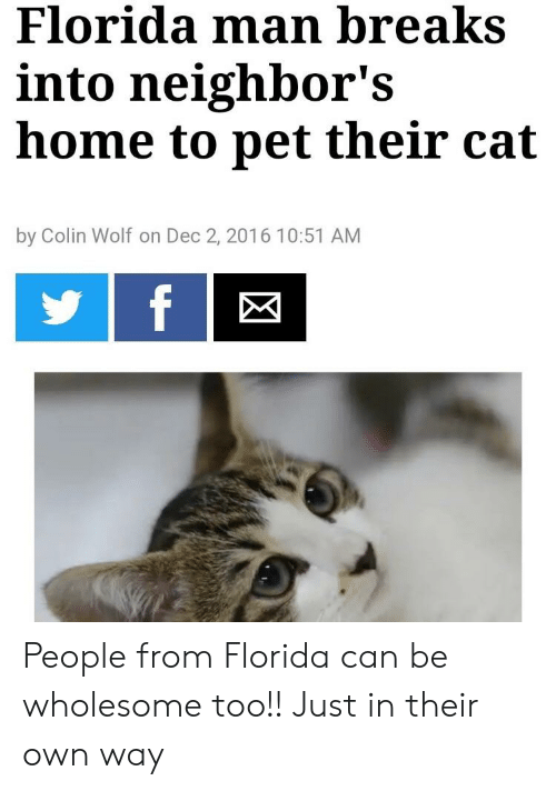 Florida Man, Florida, and Home: Florida man breaks  into neighbor's  home to pet their cat  by Colin Wolf on Dec 2, 2016 10:51 AM People from Florida can be wholesome too!! Just in their own way