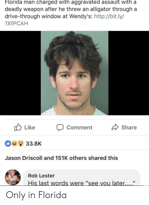 """Florida Man, Wendys, and Alligator: Florida man charged with aggravated assault with a  deadly weapon after he threw an alligator through a  drive-through window at Wendy's: http://bit.ly/  1XfPCAH  Like  Share  Comment  33.8K  Jason Driscoll and 151K others shared this  Rob Lester  His last words were """"see you later.... """" Only in Florida"""
