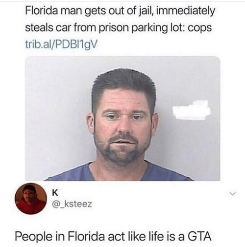 Florida Man, Jail, and Life: Florida man gets out of jail, immediately  steals car from prison parking lot: cops  trib.al/PDBI19V  K  @ksteez  People in Florida act like life is a GTA