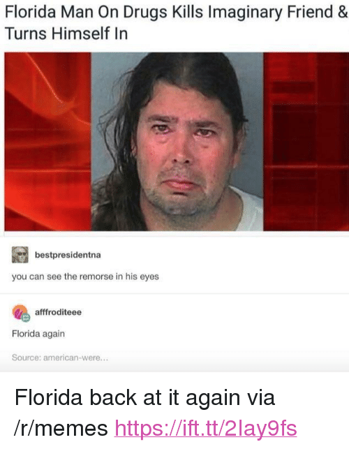 "Drugs, Florida Man, and Memes: Florida Man On Drugs Kills Imaginary Friend &  Turns Himself In  bestpresidentna  you can see the remorse in his eyes  afffroditeee  Florida again  Source: american-were... <p>Florida back at it again via /r/memes <a href=""https://ift.tt/2Iay9fs"">https://ift.tt/2Iay9fs</a></p>"