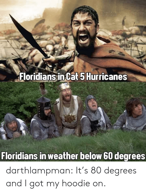 hurricanes: Floridians in Cat 5 Hurricanes  Floridians in weather below 60 degrees darthlampman:  It's 80 degrees and I got my hoodie on.