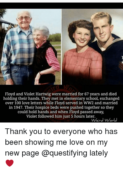 Memes, Elementary, and Mets: Floyd and Violet Hartwig were married for 67 years and died  holding their hands. They met in elementary school, exchanged  over 100 love letters while Floyd served in WW2 and married  in 1947. Their hospice beds were pushed together so they  could hold hands and when Floyd passed away,  Violet followed him just 5 hours later.  Weird World Thank you to everyone who has been showing me love on my new page @questifying lately ❤️
