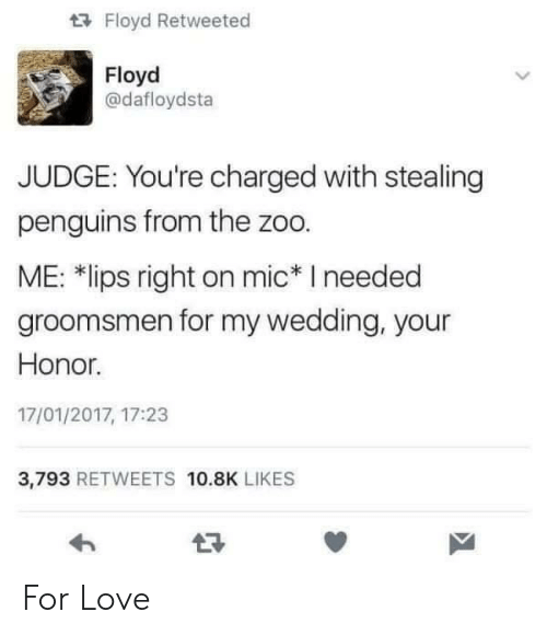 "Love, Penguins, and Wedding: Floyd Retweeted  Floyd  @dafloydsta  JUDGE: You're charged with stealing  penguins from the zoo.  ME: 치ips right on mic"" I needed  groomsmen for my wedding, your  Honor.  17/01/2017, 17:23  3,793 RETWEETS 10.8K LIKES For Love"