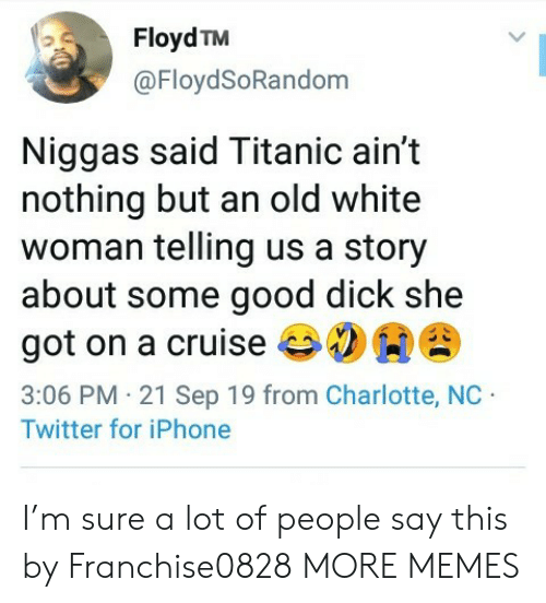people-say: Floyd TM  @FloydSoRandom  Niggas said Titanic ain't  nothing but an old white  woman telling us a story  about some good dick she  got on a cruise  3:06 PM 21 Sep 19 from Charlotte, NC  Twitter for iPhone I'm sure a lot of people say this by Franchise0828 MORE MEMES