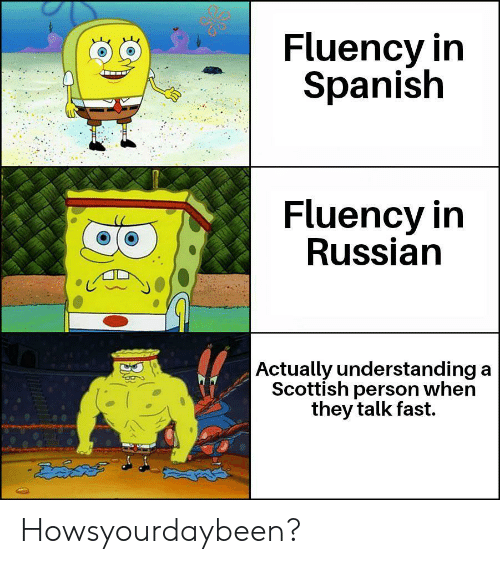 Spanish, Russian, and Scottish: Fluency in  Spanish  Fluency in  Russian  Actually understanding a  Scottish person when  they talk fast. Howsyourdaybeen?