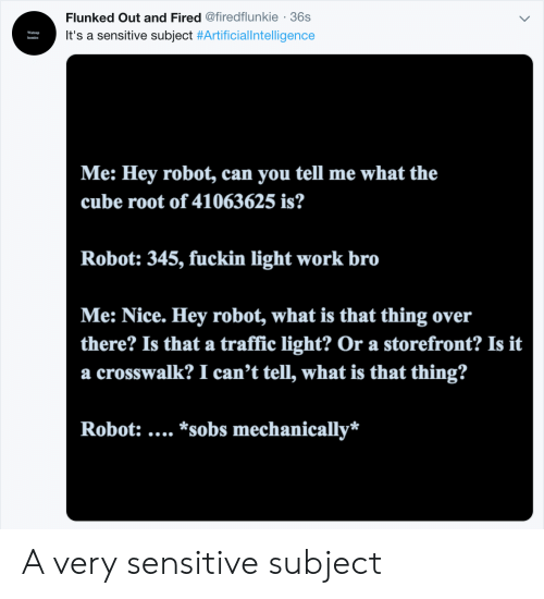 sobs: Flunked Out and Fired @firedflunkie 36s  It's a sensitive subject #Artificia!Intelligence  Me: Hey robot, can you tell me what the  cube root of 41063625 is?  Robot: 345, fuckin light work bro  Me: Nice. Hey robot, what is that thing over  there? Is that a traffic light? Or a storefront? Is it  a crosswalk? I can't tell, what is that thing?  Robot:.... *sobs mechanically* A very sensitive subject