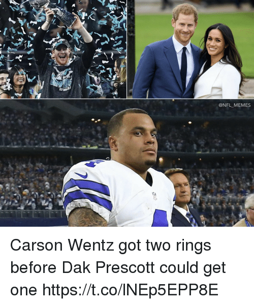 Football, Memes, and Nfl: FLY  @NFL_MEMES Carson Wentz got two rings before Dak Prescott could get one https://t.co/lNEp5EPP8E
