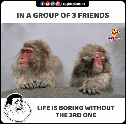 Friends, Life, and Indianpeoplefacebook: fo /LaughingColours  IN A GROUP OF 3 FRIENDS  LAUGHING  Colours  LIFE IS BORING WITHOUT  THE 3RD ONE