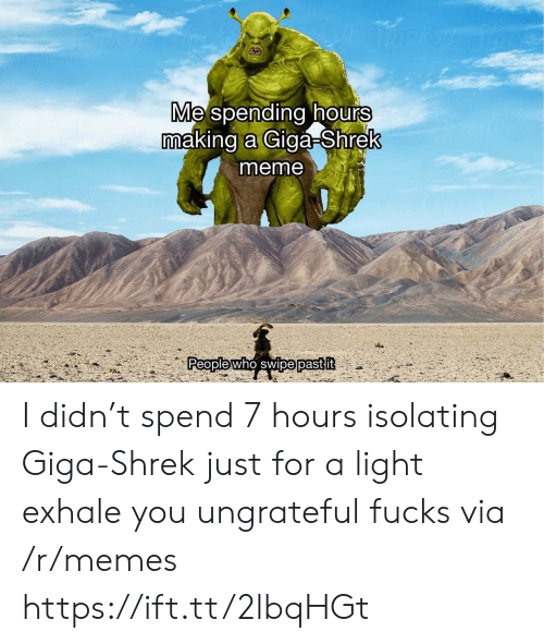 Meme, Memes, and Shrek: focksr  Me spending hours  making a Giga-Shrek  meme  People who swipe past it I didn't spend 7 hours isolating Giga-Shrek just for a light exhale you ungrateful fucks via /r/memes https://ift.tt/2lbqHGt