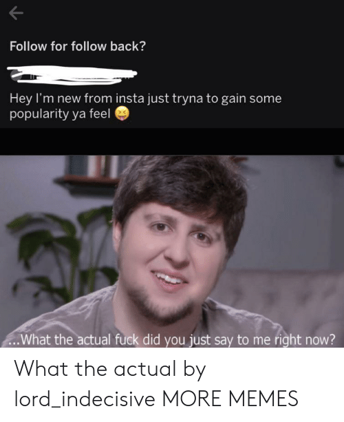insta: Follow for follow back?  Hey I'm new from insta just tryna to gain some  popularity ya feel  .What the actual fuck did you just say to me right now? What the actual by lord_indecisive MORE MEMES