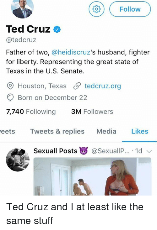 Memes, Ted, and Ted Cruz: ( Follow  Ted Cruz <  @tedcruz  Father of two, @heidiscruz's husband, fighter  for liberty. Representing the great state of  Texas in the U.S. Senate.  O Houston, Texas S tedcruz.org  Born on December 22  7,740 Following 3M Followers  eets Tweets & replies Media Likes  Sexuall Posts g @SexuallP.. . 1d Ted Cruz and I at least like the same stuff