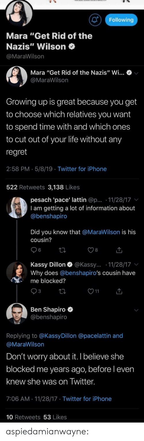 """Ben Shapiro: Following  Mara """"Get Rid of the  Nazis"""" Wilson  @MaraWilson   Mara """"Get Rid of the Nazis"""" Wi...  @MaraWilson  Growing up is great because you get  to choose which relatives you want  to spend time with and which ones  to cut out of your life without any  regret  2:58 PM 5/8/19 Twitter for iPhone  522 Retweets 3,138 Likes   pesach 'pace' lattin @p... 11/28/17  I am getting a lot of information about  @benshapiro  Did you know that @MaraWilson is his  cousin?  6  8  Kassy Dillon @Kassy....11/28/17 v  Why does @benshapiro's cousin have  me blocked?  3  Ben Shapiro  @benshapiro  Replying to @KassyDillon @p  @MaraWilson  acelattin and  Don't worry about it. I believe she  blocked me years ago, before l even  knew she was on Iwitter.  7:06 AM 11/28/17 Twitter for iPhone  10 Retweets 53 Likes aspiedamianwayne:"""
