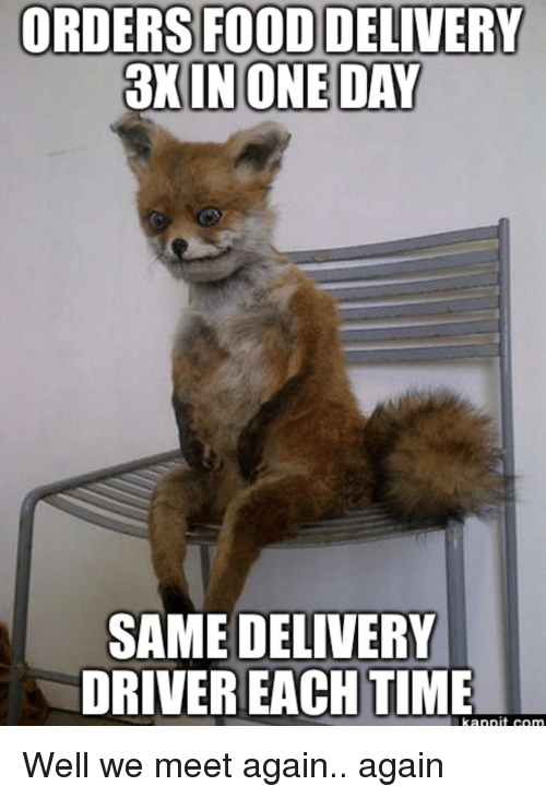 Food, Time, and Driver: FOOD DELIVERY  3X INONE DAY  ORDERS  SAME DELIVERY  DRIVER EACH TIME Well we meet again.. again