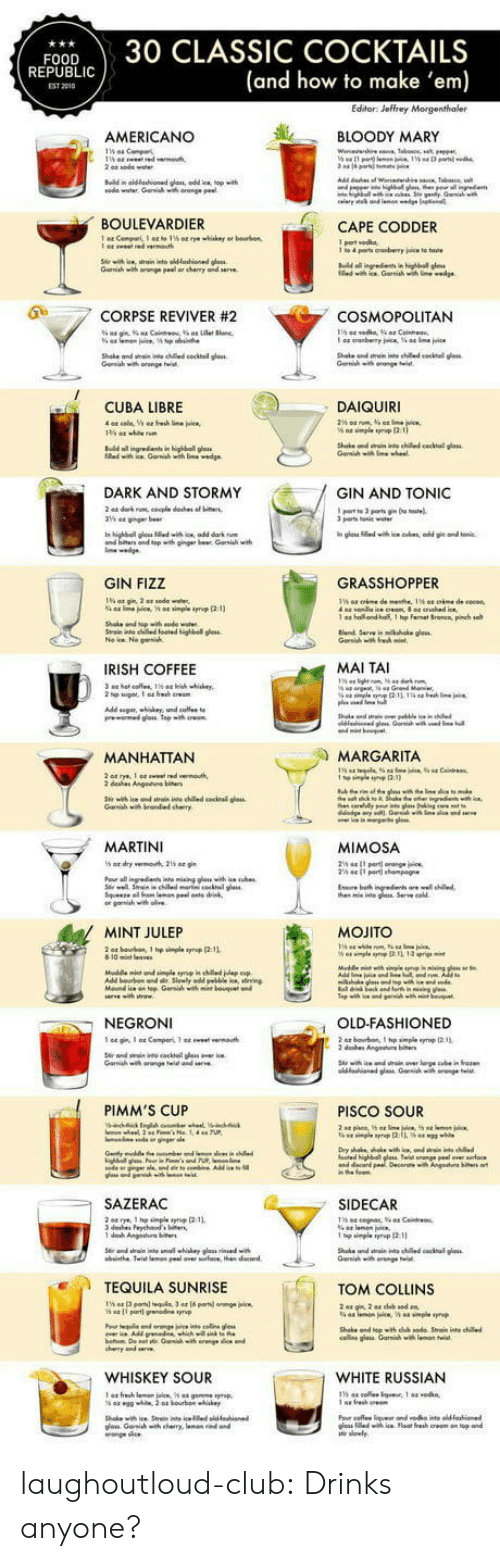 tonic: FOOD30 CLASSIC COCKTAILS  (and how to make 'em)  REPUBLI  EST 2010  AMERICANO  し 、 BLOODY MARY  ณ0de water. Garwish wa orange Peet  BOULEVARDIER  CAPE CODDER  Gamiah with oronge peal or chenry and serve  0  .7 CORPSE REVIVER #2  COSMOPOLITAN  Shake ond wtai nto ched cocktal glass  CUBA LIBRE  DAIQUIRI  n highball g  DARK AND STORMY  GIN AND TONIC  parts Tonile  and top with ginger br Gari w  GIN FIZZ  GRASSHOPPER  1 a  ho and-half, 1 hp fernet Sronca, pinch so  IRISH COFFEE  MAI TAI  MANHATTAN  MARGARITA  dehes Angeuo  MARTINI  MIMOSA  he nte g Serve cold  MINT JULEP  MOJITO  NEGRONI  OLD-FASHIONED  Garih wh orange twist and  PIMM'S CUP  PISCO SOUR  SAZERAC  SIDECAR  TEQUILA SUNRISE  TOM COLLINS  Shake and topith dub sode Srain into chile  cos glais Garnihwi  WHISKEY SOUR  WHITE RUSSIAN  าร 44 cole.tque. 1 44 .0 kn,  os iledwih ice Float fresh creom on top and laughoutloud-club:  Drinks anyone?